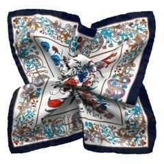 Floral Printed Silk Pocket Square - White&Navy