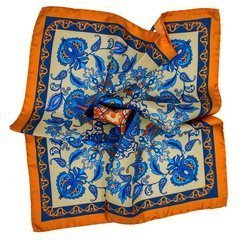 Flowers Silk Pocket Square - Gold