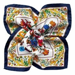 Flowers Silk Pocket Square - White&Navy