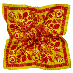 Geometric Silk Pocket Square - Yellow