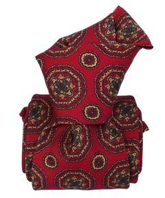 Printed Silk Tie - Dark Red Geometrical