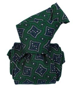 Printed Silk Tie - Green Geometrical