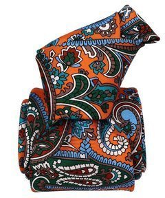 Printed Silk Tie - Orange Paisley