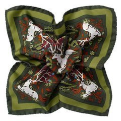 Stag Silk Pocket Square - Green