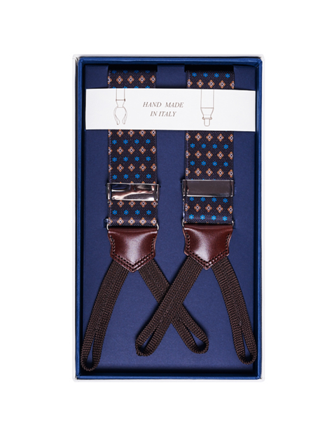 Men's Suspenders - Brown Diamonds