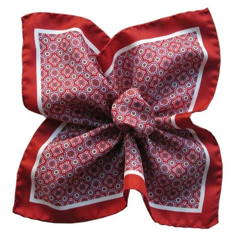 Mosaique Printed Silk Pocket Square - Red&White