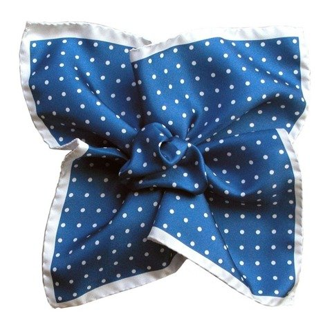Polka Dot Printed Silk Pocket Square - White&Blue