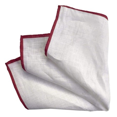 Printed Linen Pocket Square - White&Red