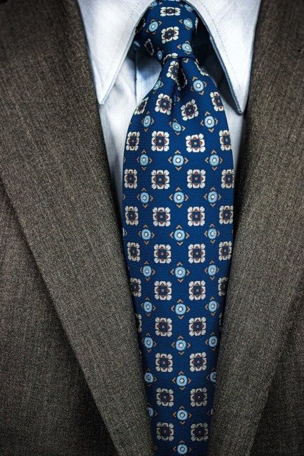 Printed Silk Tie - Blue Geometrical
