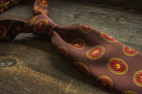 Printed Silk Tie - Brown Medalions